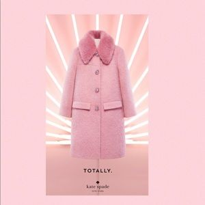 💎Kate Spade Wild One's Faux Fur Tulip Trim Coat